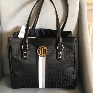 New With Tags Tommy Hilfiger black printed tote!!